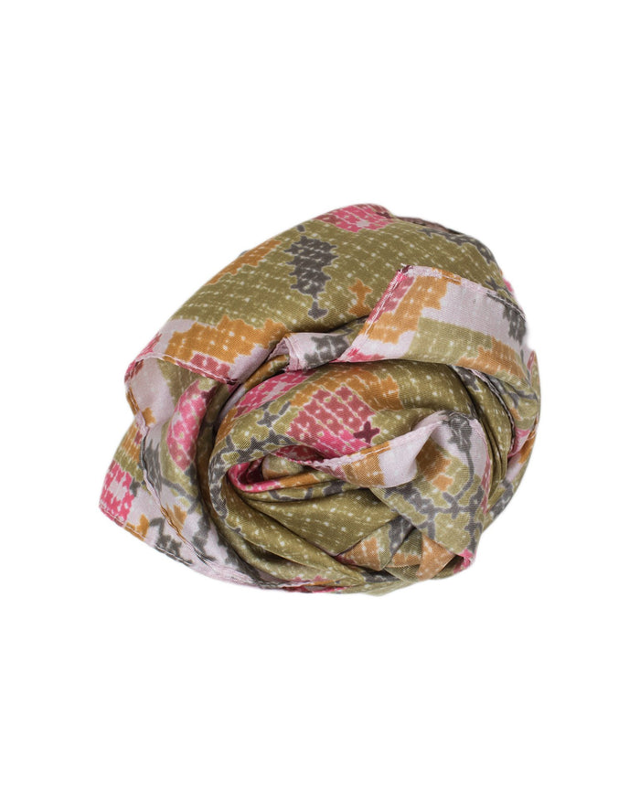 Épice Accessories Olive / O/S Silk Floral X Stitch Scarf
