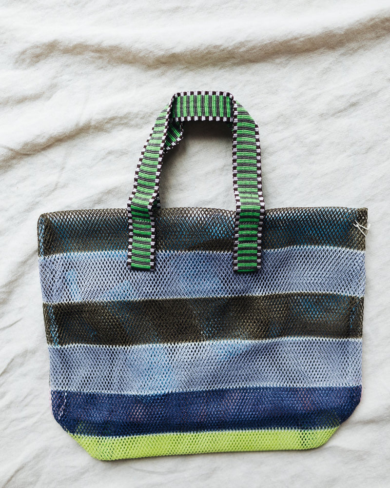 Épice Accessories Small Stripe Mesh Bag in Forest