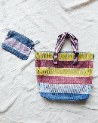 Épice Accessories Small Stripe Mesh Bag in Lido