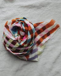Épice Accessories Square Plaid Scarf in Tangine