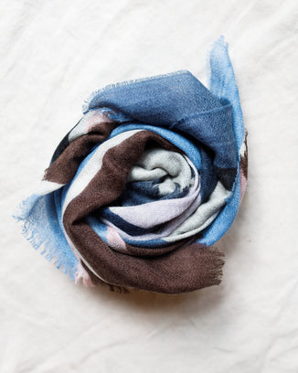 Épice Accessories Blue Jeans Squares Scarf in Blue Jeans