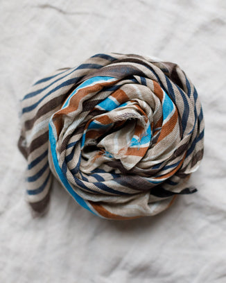 Épice Accessories Stripe Linen Scarf in Noccio