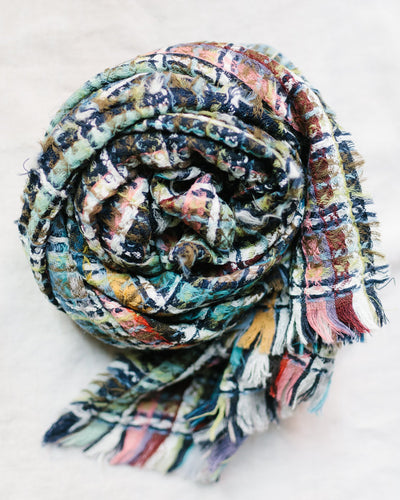 Épice Accessories O/S / Wood Woven Plaid Small Scarf in Wood