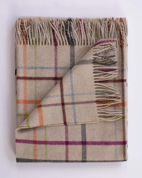 Evangeline Home Oatmeal Plaid Multi / O/S Merino Lambswool Throw