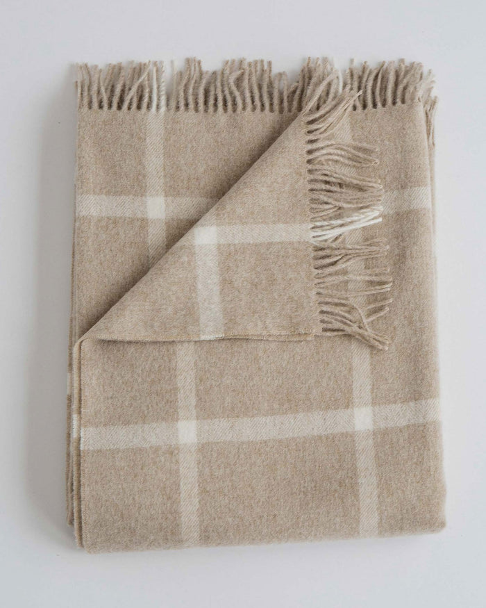 Evangeline Home Windowpane Oatmeal / O/S Merino Lambswool Throw