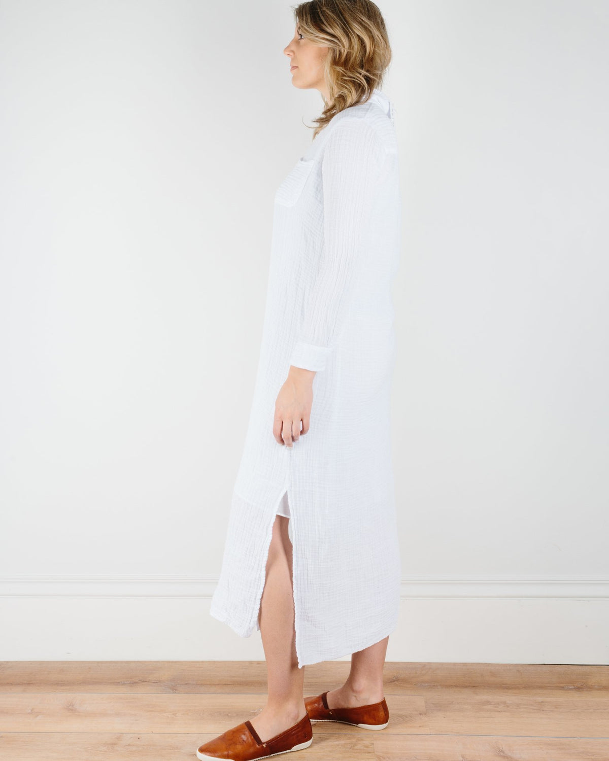 Felicite Apparel Clothing Boyfriend Maxi Dress in White