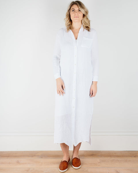 Felicite Apparel Clothing White / XS Boyfriend Maxi Dress in White