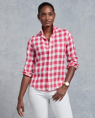 Frank & Eileen Clothing Barry Button Down in Pink Check Linen