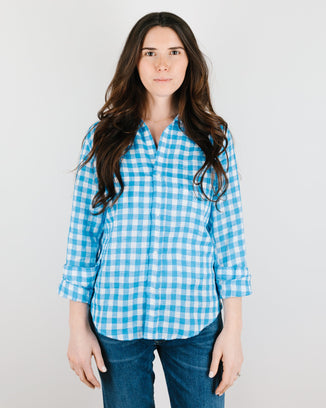 Frank & Eileen Clothing Barry Button Down in Turquoise Check Linen