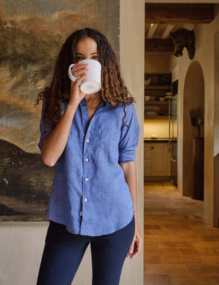 Frank & Eileen Clothing Eileen Relaxed Button Down in Famous Blue Linen