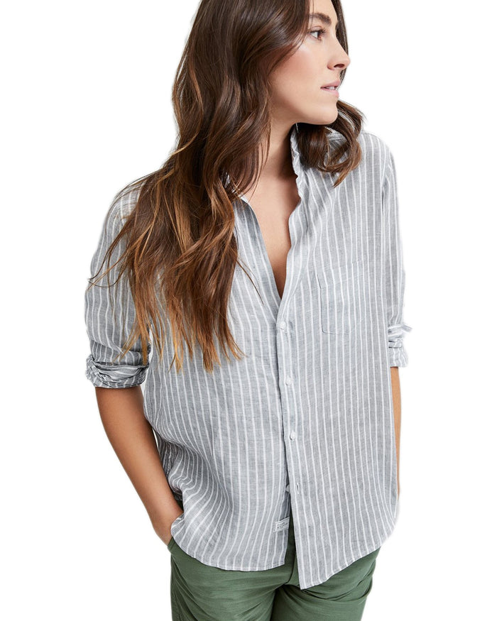 Frank & Eileen Clothing Gray Stripe Linen / XS Eileen Relaxed Button Down in Gray Stripe Linen