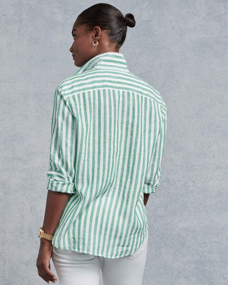 Frank & Eileen Clothing Eileen Relaxed Button Down in Green & White Stripe Linen