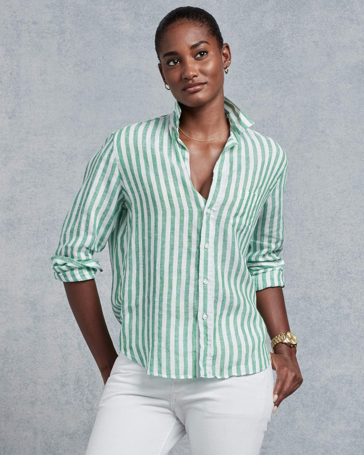 Frank & Eileen Clothing Green & White Stripe Linen / XS Eileen Relaxed Button Down in Green & White Stripe Linen