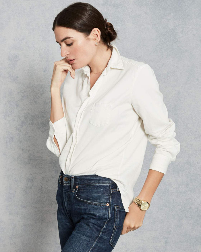 Frank & Eileen Tops Eileen Relaxed Button Down in Vintage White Tattered Denim