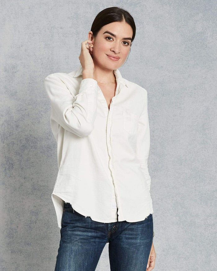 Frank & Eileen Tops Vintage White Tattered Denim / XS Eileen Relaxed Button Down in Vintage White Tattered Denim
