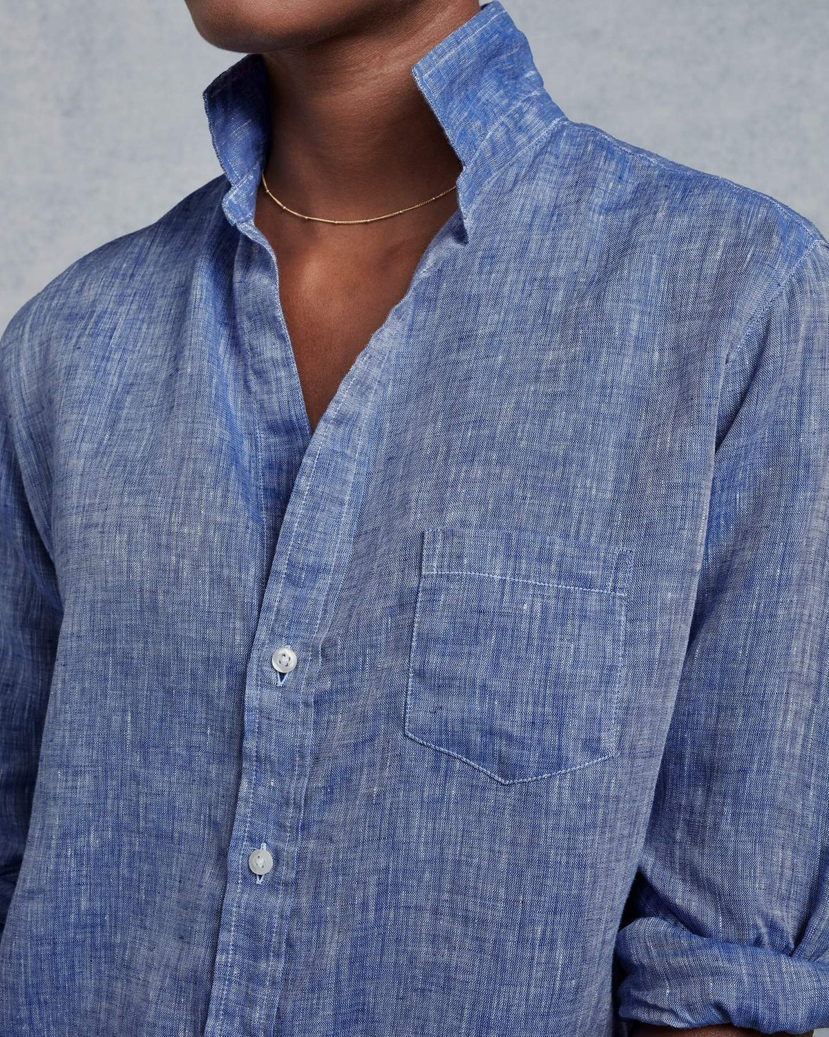 Frank & Eileen Clothing Eileen Relaxed Button Down in Washed Blue Linen