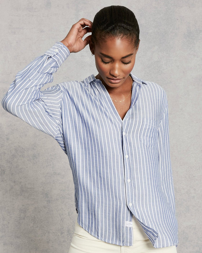 Frank & Eileen Clothing Wide Blue Stripe / XS Eileen Relaxed Button Down in Wide Blue Stripe