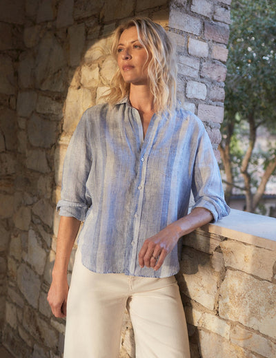 Frank & Eileen Clothing Elieen Relaxed Button Down in Multi-Blue Stripe