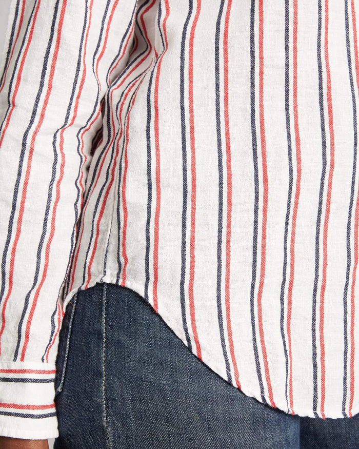 Frank & Eileen Clothing Frank L/S Button Down in Navy & Red Double Stripe