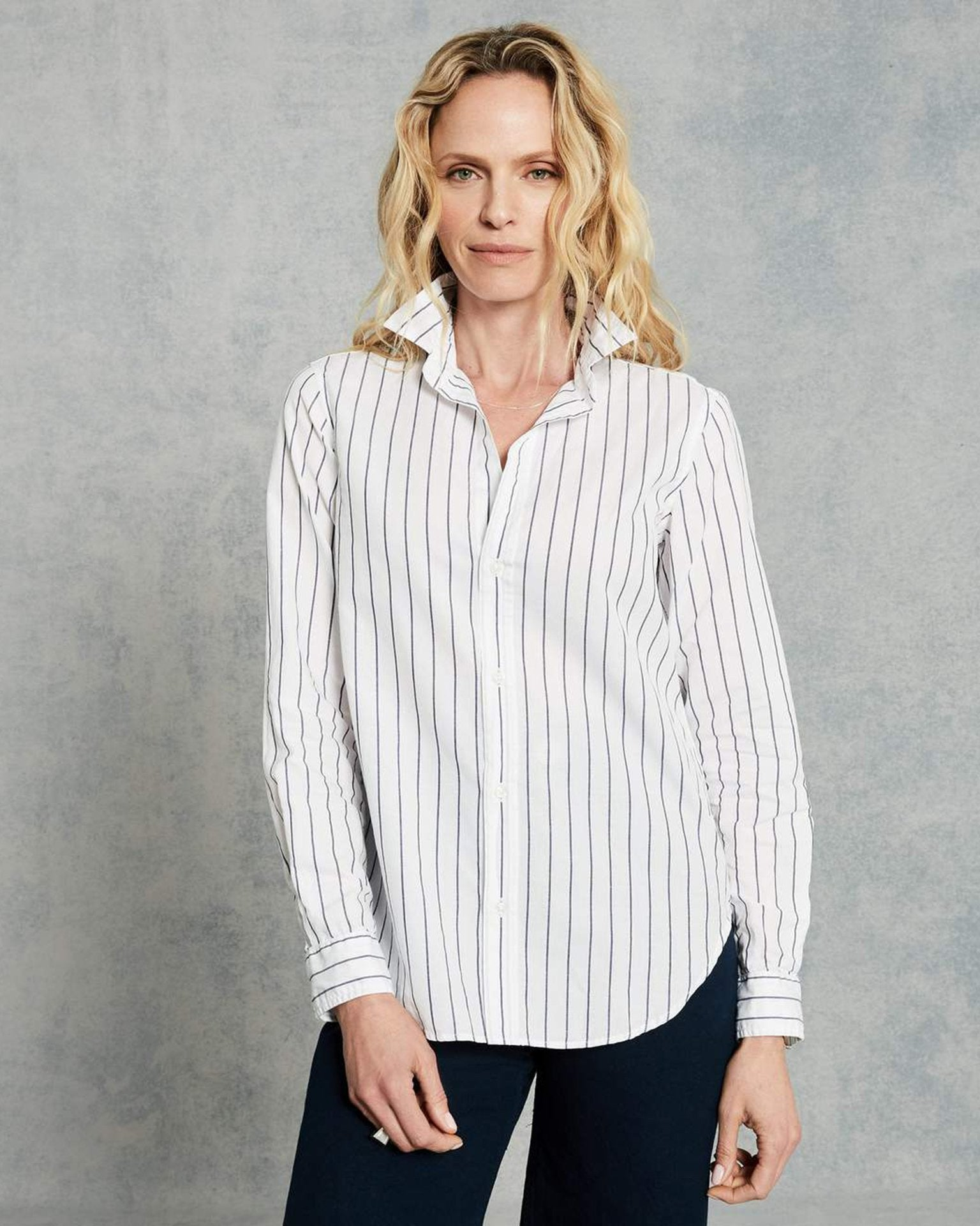 Frank & Eileen Clothing Thin Navy Stripe / XS Frank L/S Button Down in Thin Navy Stripe
