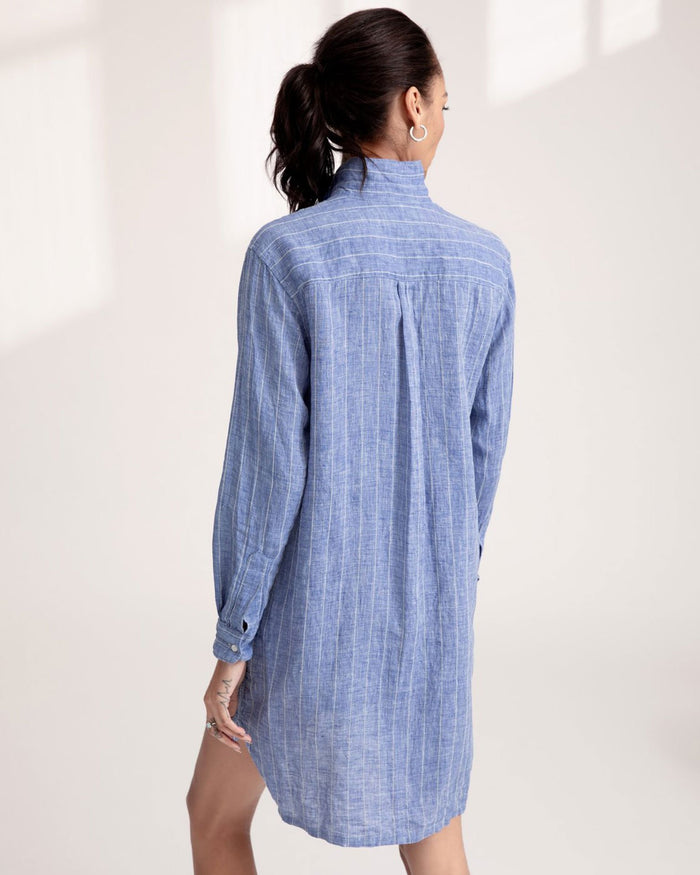 Frank & Eileen Clothing Blue White Textured Stripe / XS Hunter Dress in Blue White Textured Stripe