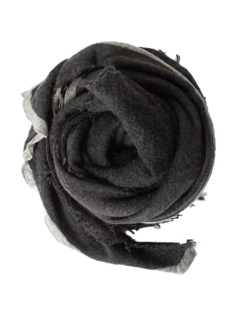 Grisal Accessories Charcoal x Heather Grey Rosa Cashmere Scarf in Charcoal x Heather Grey