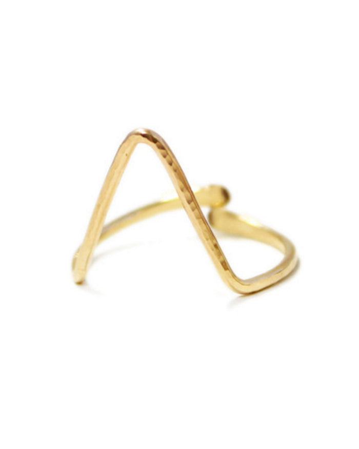Kris Nations Jewelry Gold / O/S Classic Single Large Chevron Ring