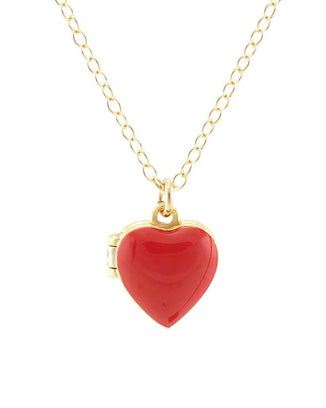 Kris Nations Jewelry 18K Gold Vermeil / Red Heart Enamel Locket in Red