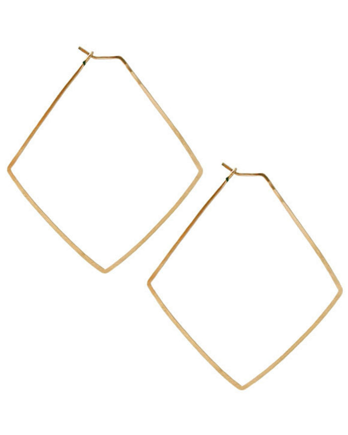 Kris Nations Jewelry Gold / O/S Large Diamond Hammered Hoops