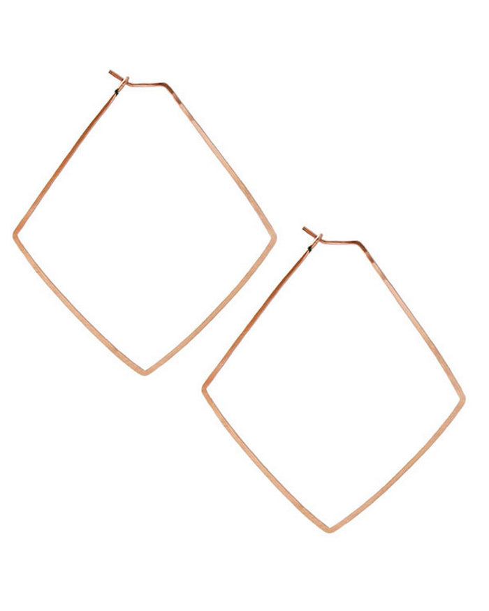 Kris Nations Jewelry Rose Gold / O/S Large Diamond Hammered Hoops