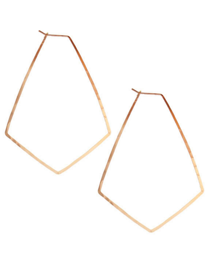 Kris Nations Jewelry Rose Gold / O/S Large Marquis Hoops