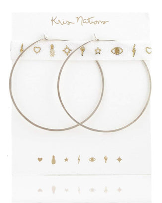 Kris Nations Jewelry O/S / Silver Large Simple Hoops in Silver