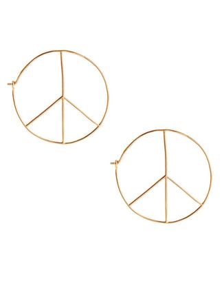 Kris Nations Jewelry O/S / Gold Peace Hoops in Gold