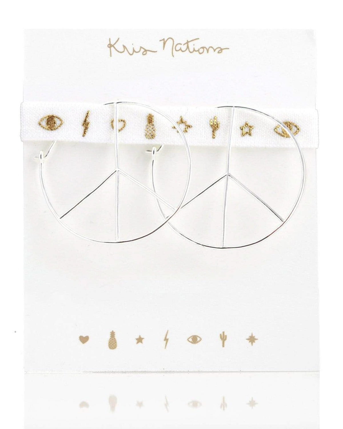Kris Nations Jewelry O/S / Silver Peace Hoops in Silver