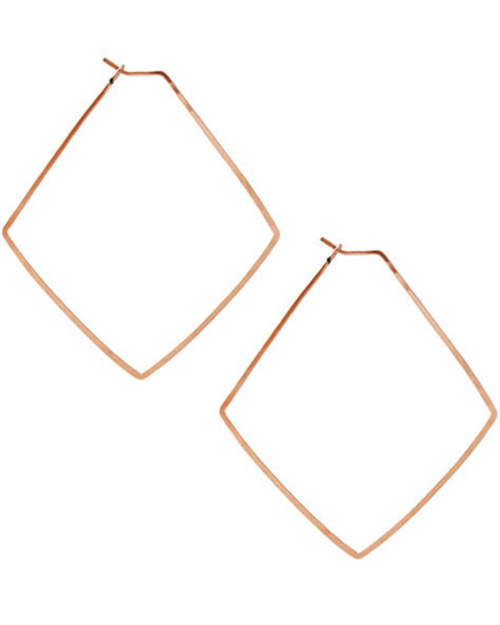 Kris Nations Jewelry Rose Gold / O/S Small Diamond Hammered Hoops