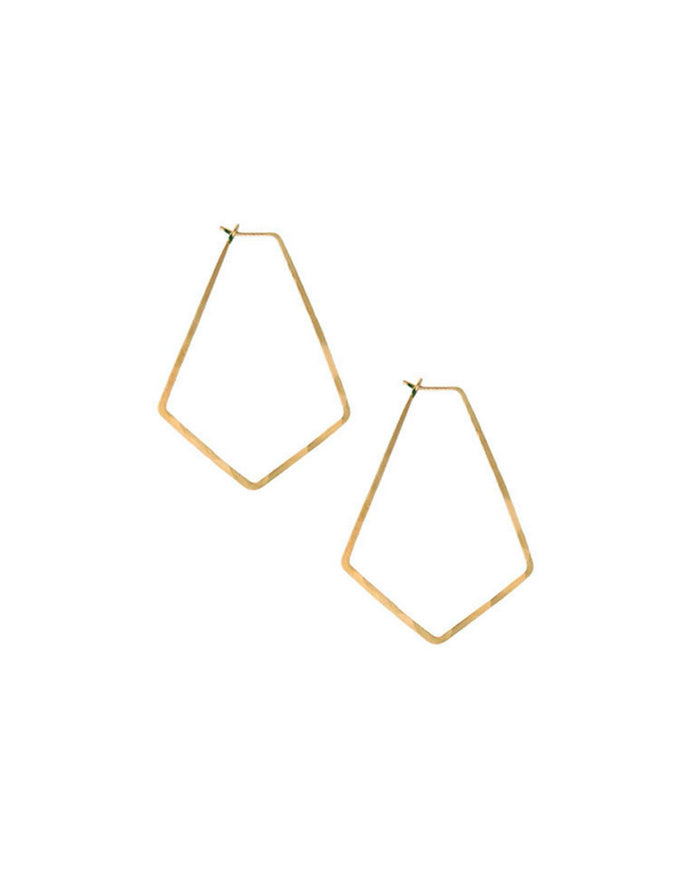 Kris Nations Jewelry Gold / O/S Small Marquis Hoops