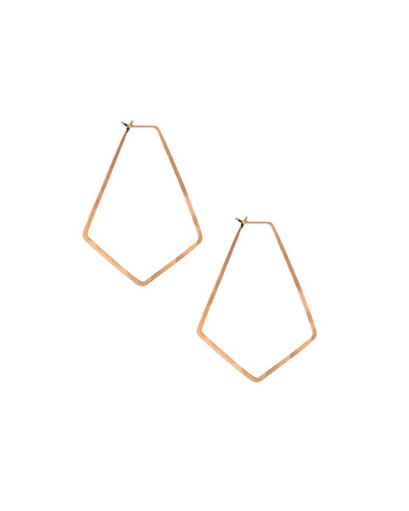 Kris Nations Jewelry Rose Gold / O/S Small Marquis Hoops