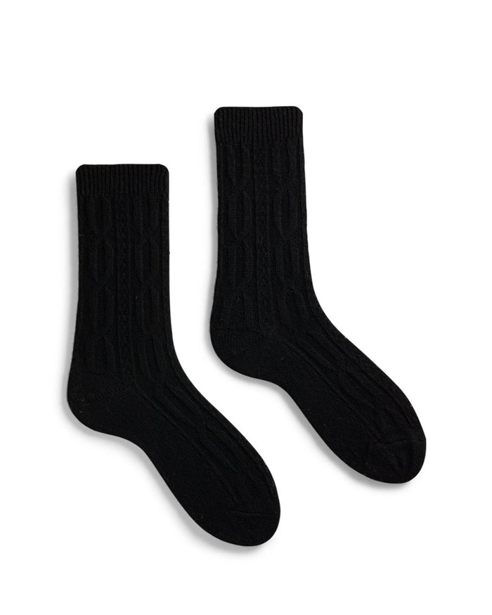 Lisa B. Accessories Black / O/S Chunky Cable Socks