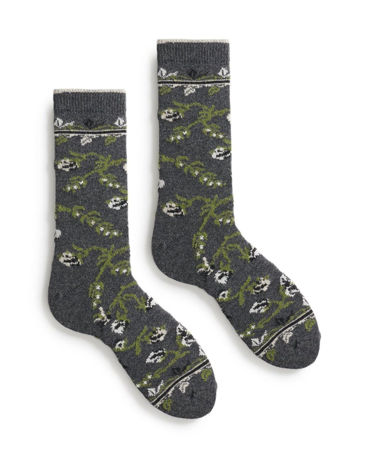 Lisa B. Socks Charcoal / O/S Floral Socks