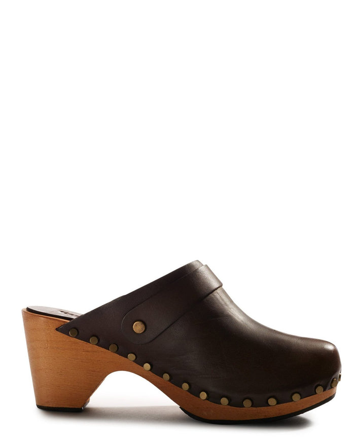 Lisa B. Shoes High Heel Leather Clogs in Dark Brown