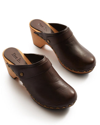 Lisa B. Shoes Dark Brown / 36 High Heel Leather Clogs in Dark Brown