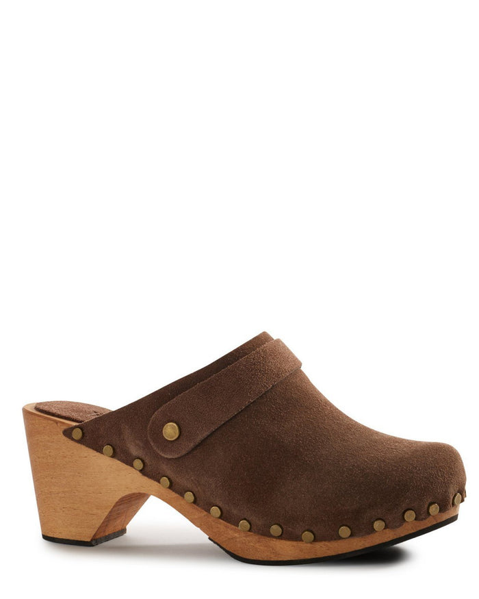 Lisa B. Shoes High Heel Suede Clog in Mushroom