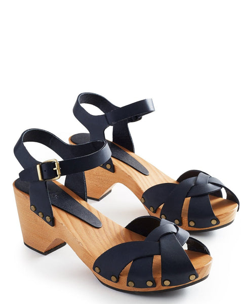 Lisa B. Shoes Dark Navy / 36 Huarache Leather Clogs