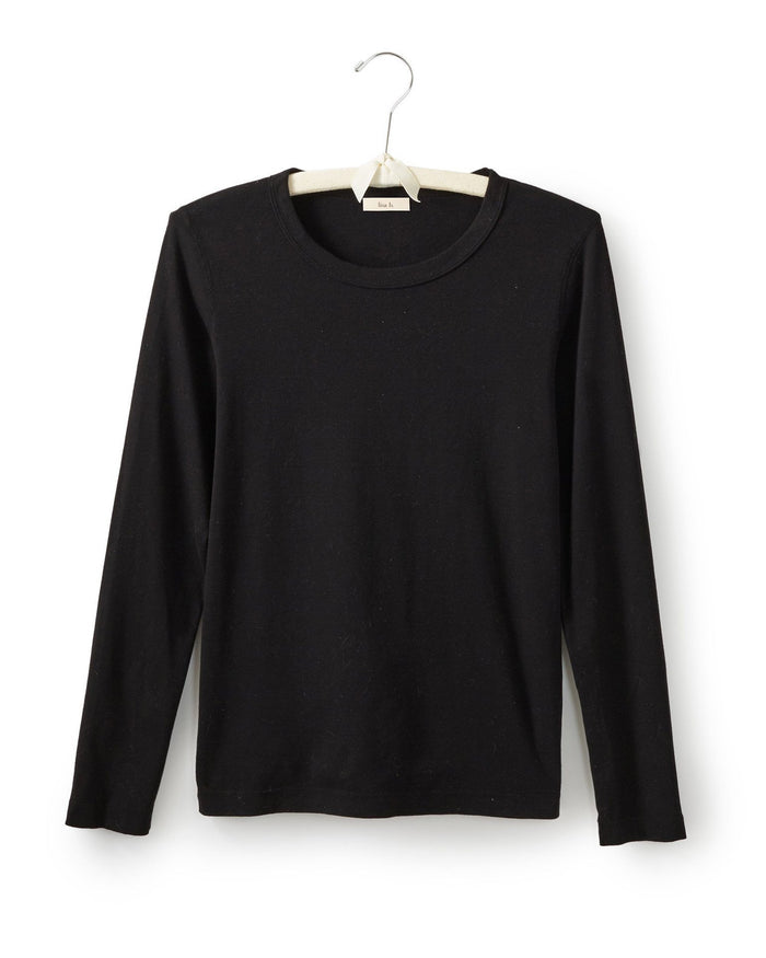 Lisa B. Tops Black / XS Long Sleeve Fitted Crew