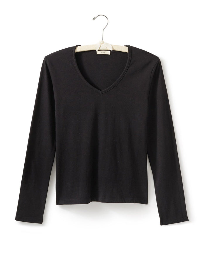 Lisa B. Tops Black / S Long Sleeve Fitted V