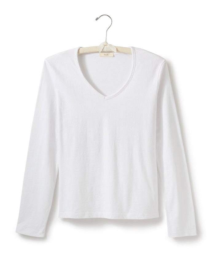 Lisa B. Tops White / S Long Sleeve Fitted V