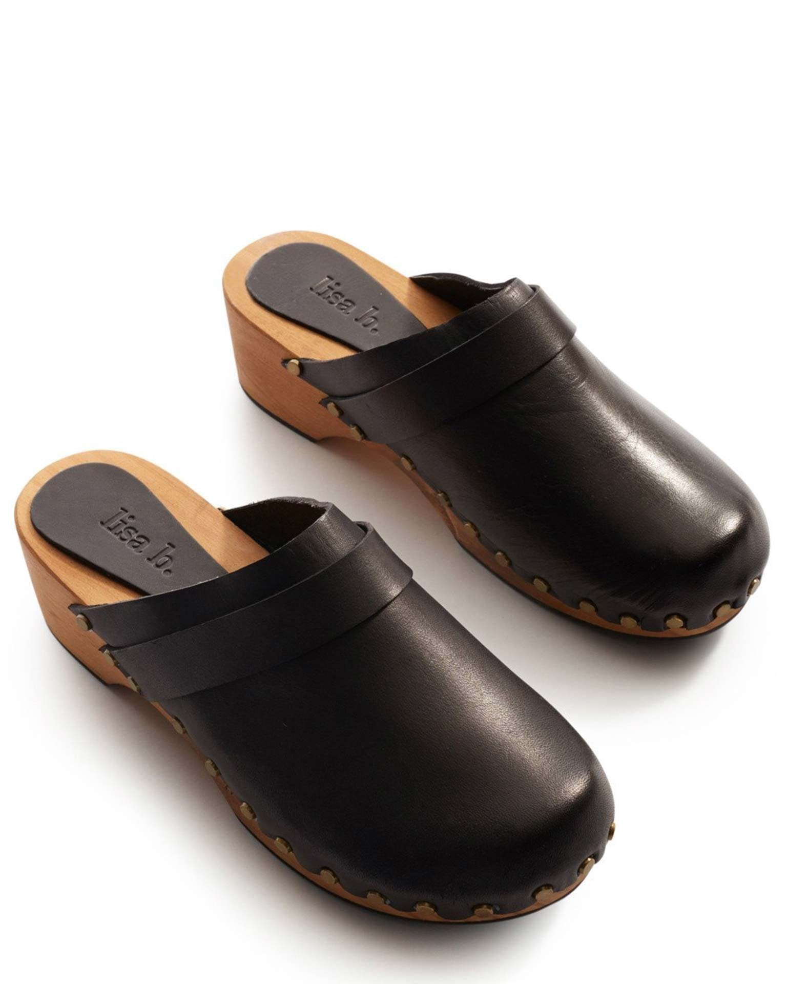Lisa B. Shoes Black / 6 Low Heel Leather Clogs