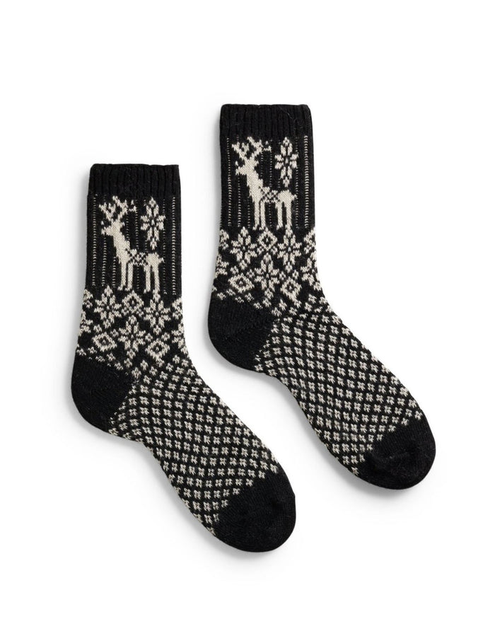 Lisa B. Accessories Black / O/S Reindeer Socks