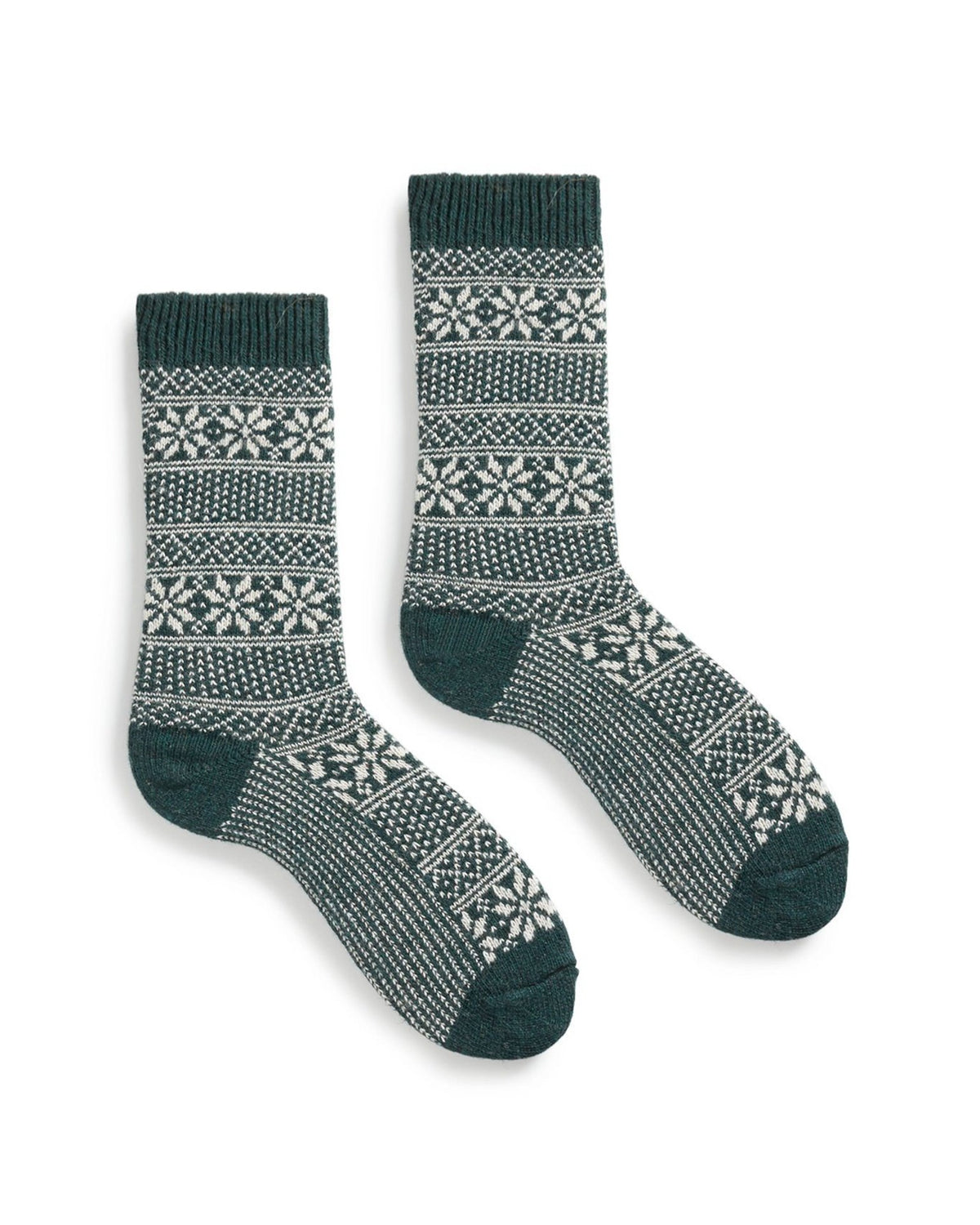 lisa b. Accessories Ivy Stripe Snowflake Socks in Ivy