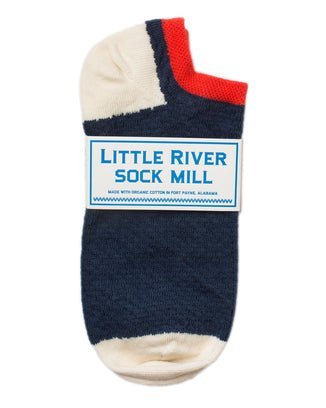 Little River Sock Mill Accessories Navy/Natural / O/S Pin Tuck Footie